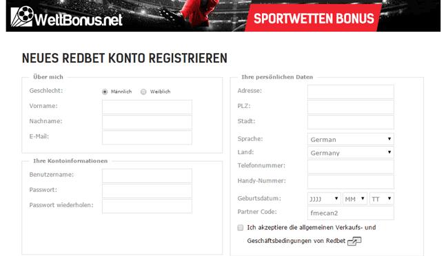RedBet Registrierung