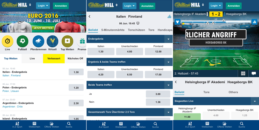 William Hill App und Mobile