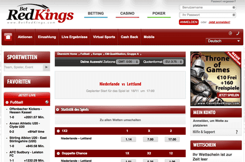 BetRedKings Webseite