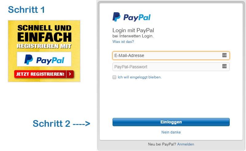 Interwetten PayPal Registrierung