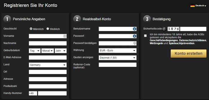 RealDealBet Registrierung