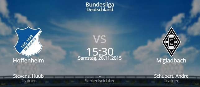 TSG Hoffenheim - Borussia M'gladbach 28.11.2015 Tipp