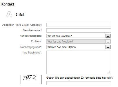 Kontaktformular von Tipico und Ausfüllmöglichkeiten