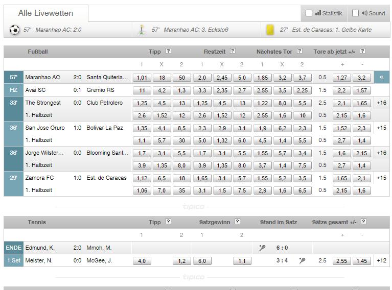 Übersicht von unterschiedlichen Livewetten-Partien bei Tipico.