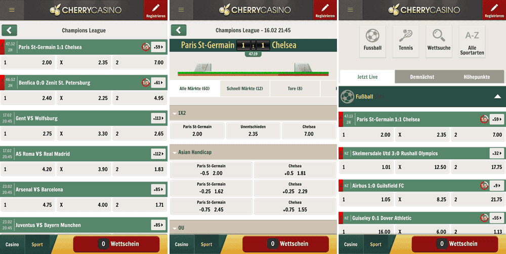 Cherry Casino Sportwetten Mobile