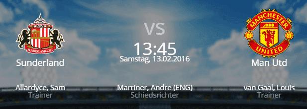 AFC Sunderland – Manchester United 13.02.2016 Tipp