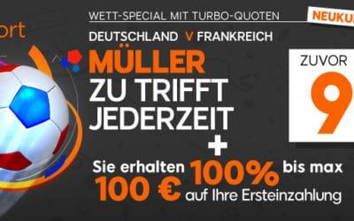 Sonderquote bei 888sports auf Thomas Müller als Torschütze