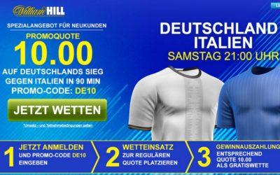 10.0 auf einen Sieg Deutschlands für Neukunden bei William Hill