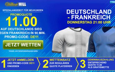 11.0 auf einen Sieg Deutschlands für Neukunden bei William Hill