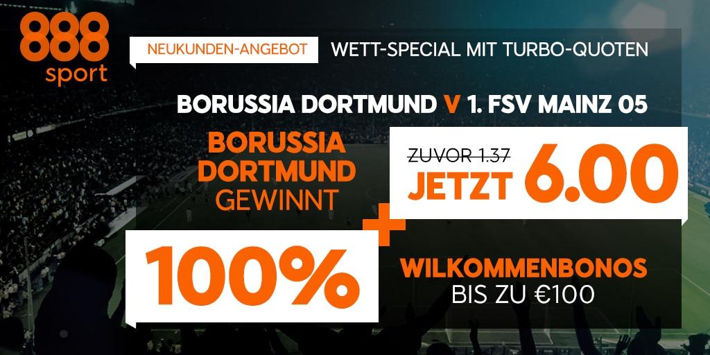 Top-Quote für Neukunden auf Borussia Dortmund bei 888sport
