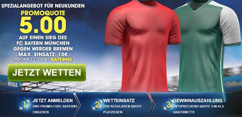 Verbesserte Quoten Neukunden bei William Hill