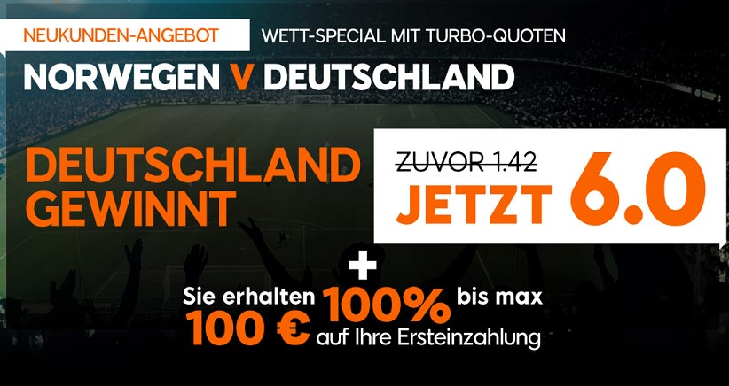 Wettspecial für Neukunden bei 888sport für Deutschland gegen Norwegen