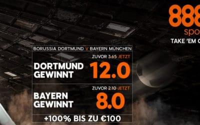 Neukunden setzen höher bei 888sport für Dortmund gegen Bayern