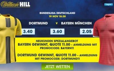 Spezialangebot für Neukunden bei William Hill für Dortmund gegen Bayern