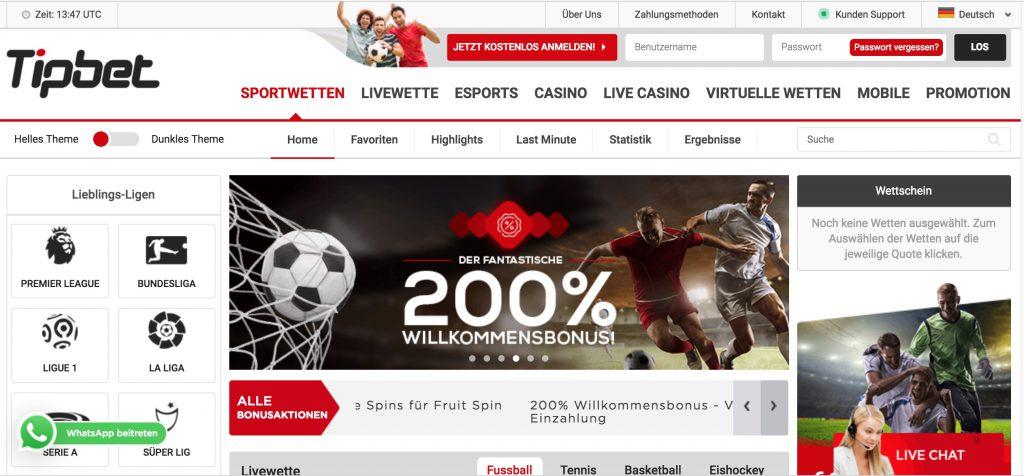 Tipbet Webseite wettbonus.net