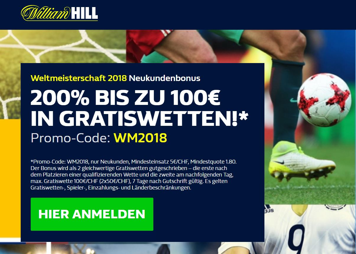 William Hill Gratiswette WM Aktion
