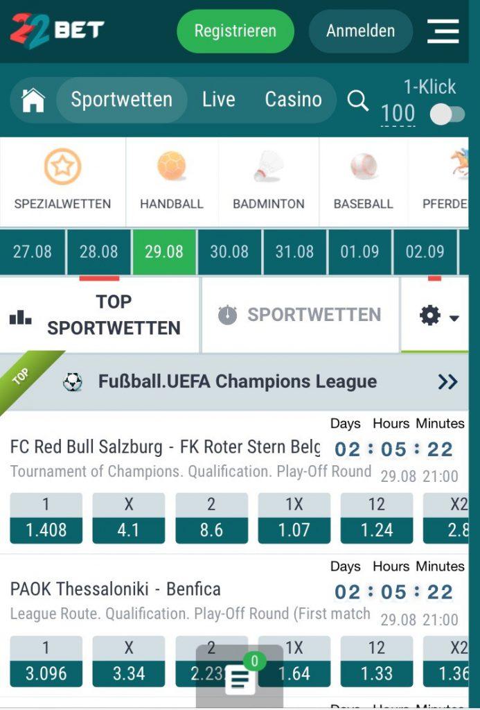22bet app sportwetten bonus wettbonus