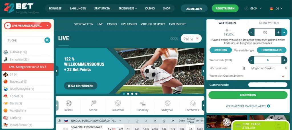 22bet webseite sportwetten bonus wettbonus