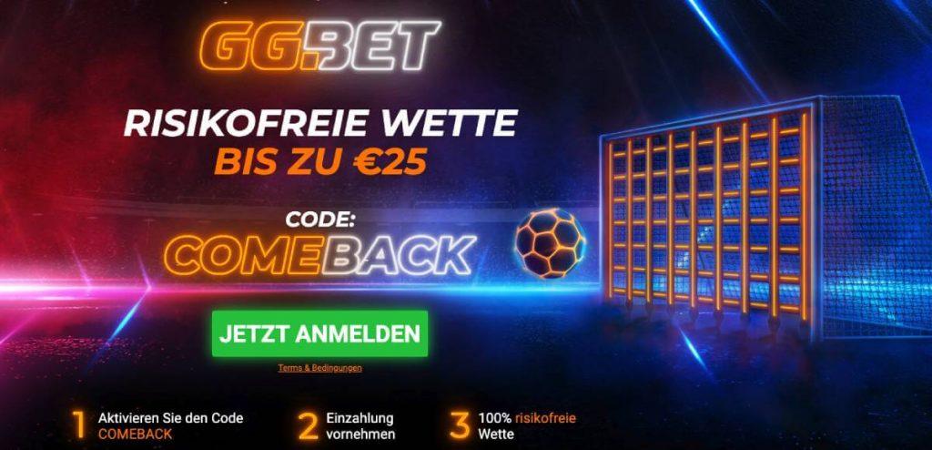 GG.BET 25€ Freiwette mit Code
