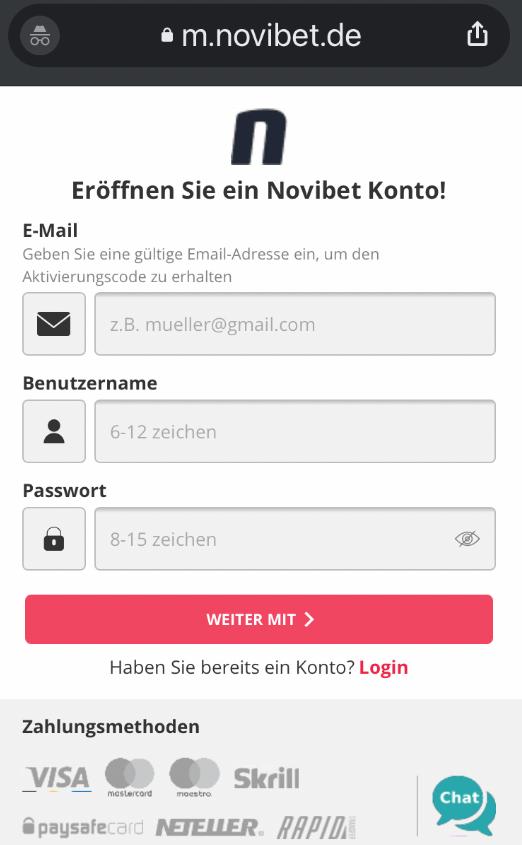 Novibet Bonus registrieren