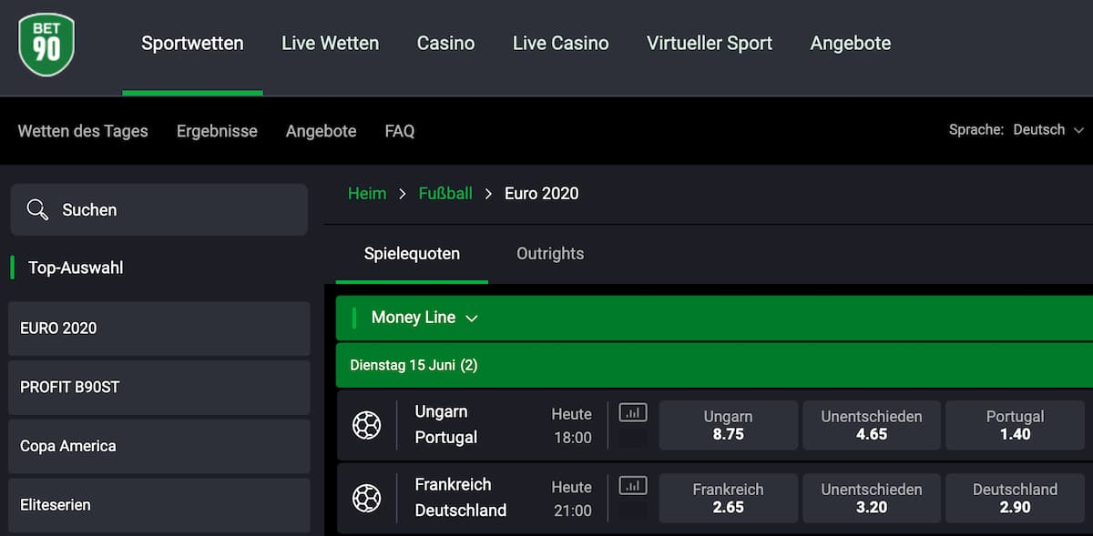 Bet90 Sportwetten